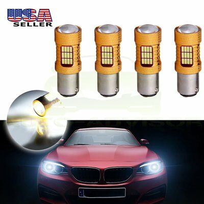 4x 1157 BAY15D Cree LED 54 SMD 6000K Front Turn Signal Bulb Light 60W Lamps