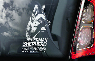 German Shepherd - Car Window Sticker - Alsatian Dog on Board Sign GSD Decal -V01