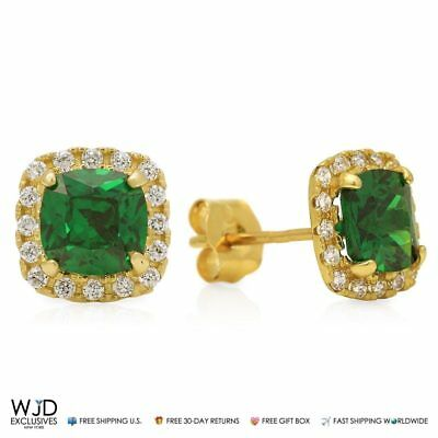 1.85Ct Created Diamond & Emerald 14K Yellow Gold Square Halo Stud Earrings 6mm