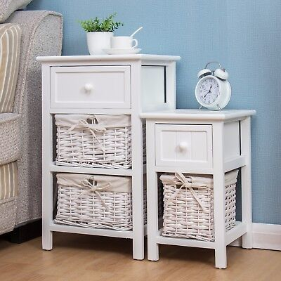 CTF Wood White Bedside Table with Drawer & Wicker Basket Storage