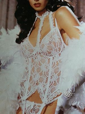 Shirley of Holleywood Bustier  in pure white lace  size 36 matching g string