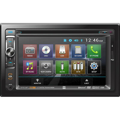 "Dual 2-DIN 6.2"" Touch Screen Car Stereo DVD Player Receiver w/ Bluetooth AUX USB"