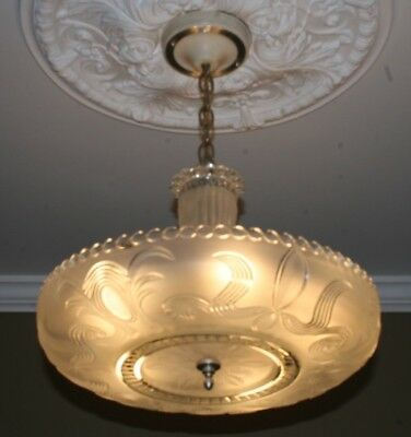 "Antique frosted 16"" glass art deco light fixture ceiling chandelier 1940s"