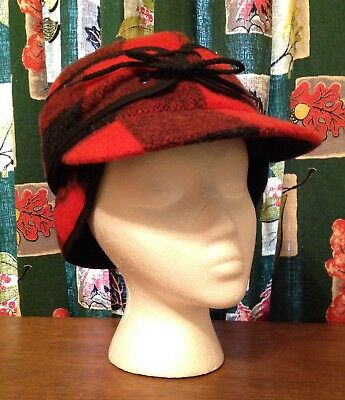 Mens Wool Cap Hat Hunter Trapper Red Buffalo Check Plaid EarFlaps BEAVER BRAND