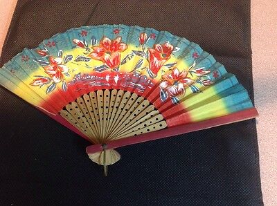 Vintage Japanese Floral Paper & Wood Folding Fan