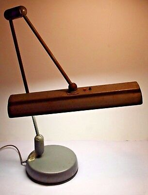 Vintage Industrial Linear Fluorescent Drafting Desk Lamp Articulated Arm