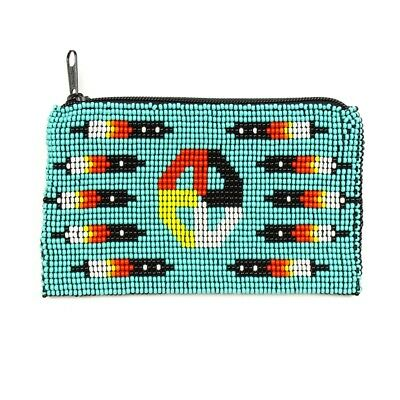 BG113-231 Tribal Coin Purse Wallet ID Bag Medicine Glass Beaded Design Wallet