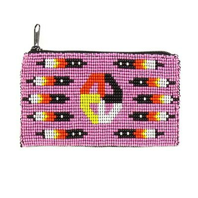 BG113-164 Tribal Coin Purse Wallet ID Bag Medicine Glass Beaded Design Wallet