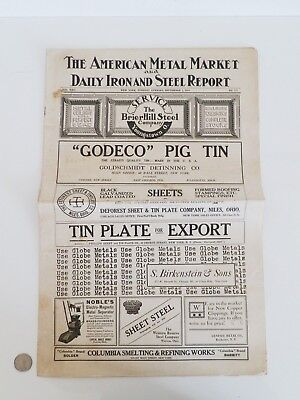 RARE Antique 1915 American Metal Market DAILY IRON AND STEEL REPORT Newspaper NY