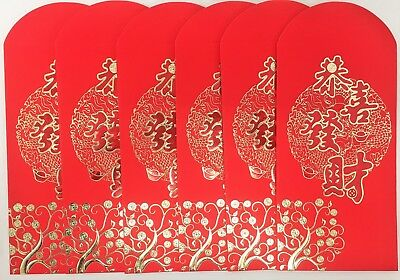 Golden Foil Red Chinese Lucky Money Envelopes Pocket for New Year Wedding