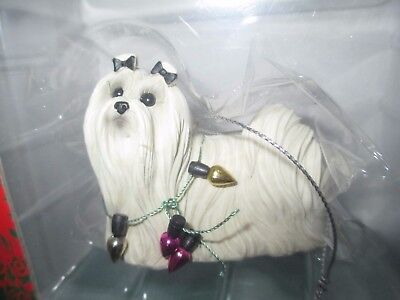 NEW! SANDICAST MALTESE w/ HOLIDAY LIGHTS Hand Painted Christmas Ornament NIP