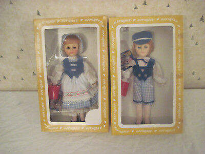 Vintage Effanbee Jack And Jill Doll Lot 11 Inch Dolls 1970's In Original Boxes