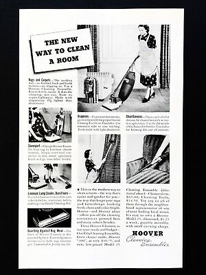 1938 Vintage Print Ad HOOVER Vacuum New Way To Clean A Room Image 30's