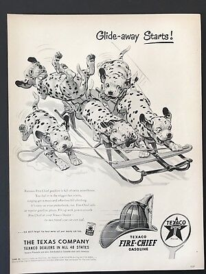 1953 Vintage Print Ad FIRE CHIEF TEXACO Gas Dalmatian Dog Spot Sled Illustration