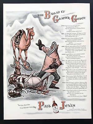 1943 Vintage Print Ad PAUL JONES Glacier Gulch Camel Whiskey Illustration