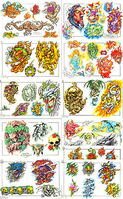 """BRIGHT Full Color New School Style Tattoo Flash 15 Sheets 11x17"""" With Linework"""