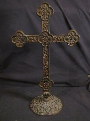 """Antique Cast Iron Cross - Large Ornate Free Standing 24"""" Vintage Archetectural"""