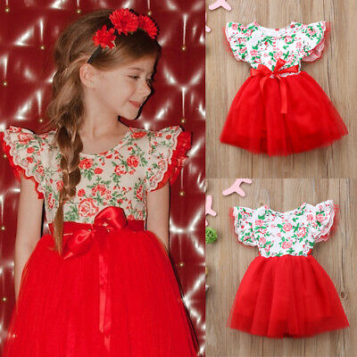 AU Stock Kids Baby Girl Flower Dress Princess Lace Tulle Tutu Formal Party Dress