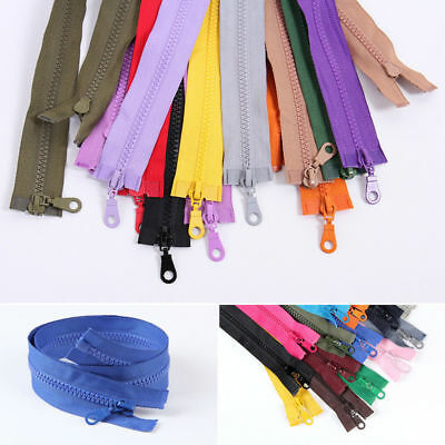 19 Colors Chunky Plastic Teeth Zip Heavy Duty Zipper Open End Lengths 27''