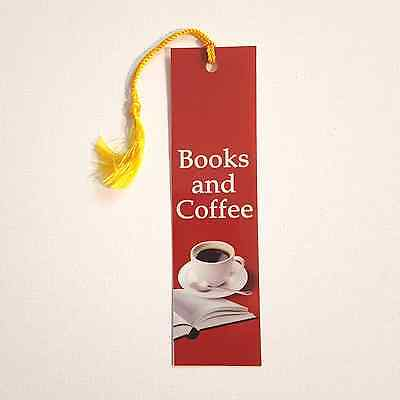 Books and Coffee Bookmark for book lovers.Custom designed w tassel