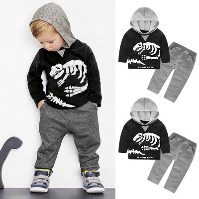Kids Baby Girls Boys Dinosaur Bones Clothes Set Hooded Tops+Pants Outfit 2T-6T