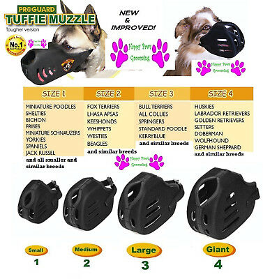 COMPLETE 4 Piece SET ProGuard TUFFIE DOG MUZZLES*ALL MUZZLE/Breed SIZES Grooming