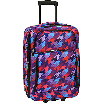"Elite Luggage Print 20"" Expandable Carry-On Rolling Softside Carry-On NEW"