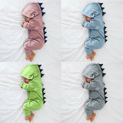 Newborn Infant Baby Boy Girl Dinosaur Hooded Romper Jumpsuit  Clothes 3M-18M