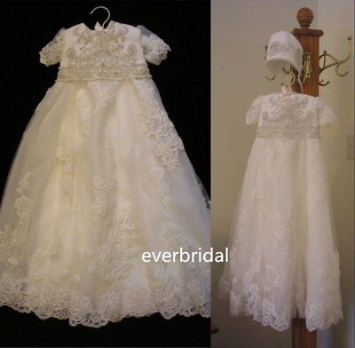 Beaded Lace Christening Dress Bonnet White Ivory Infant Baptism Dress Rhinestone