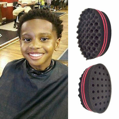 S Double Sided Barber Hair Brush Sponge Dreads Locking Twist Coil Afro Curl Wave