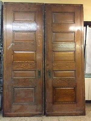 Antique Victorian Raised Panel Quarter Sawn Oak Pocket Doors Match Pair 101 Tall