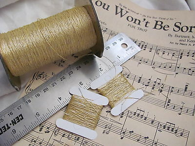 Antique 1920s Gold 3 Ply Metal Metallic Embroidery Thread **3 Yards each**