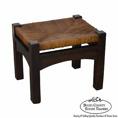 Antique Mission Oak Rush Seat Stickley Style Stool