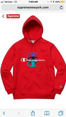 ccc44059e700 Supreme x Champion Stacked C Hooded Sweatshirt Size Large Red ORDER  CONFIRMED
