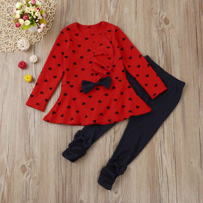 Toddler Baby Girls Heart Print Clothes Bow Top T-shirt +Pants Outfits Set 1T-3T