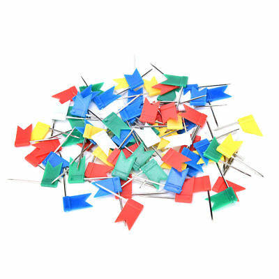 100pcs Flag Marker Shape Map Pins Cork Notice Board Push Pin  Office Home WF