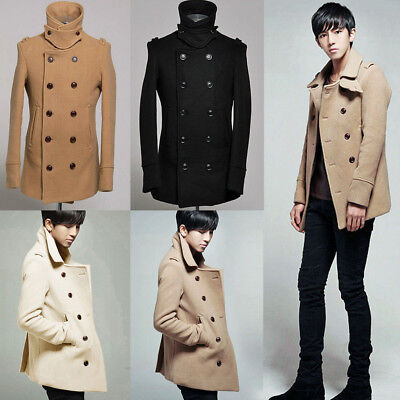 e45efc19 Winter Men Pea Coat Double Breasted Wool Jacket Classic Trench Reefer warm  navy