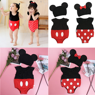 Toddler Baby Girl Minnie Mouse Bodysuit Romper Costume Summer Dress tutu Outfit