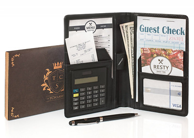 New Server book Pen Calculator-Waiter Book Organizer Double Leather Guest Check