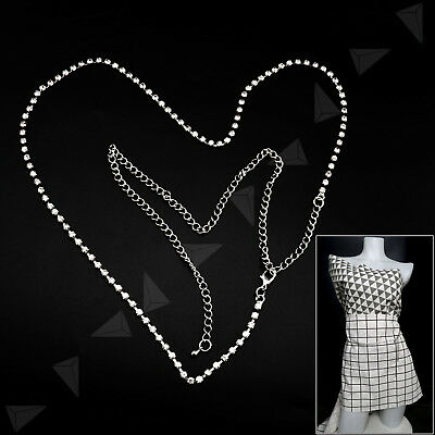 1Row Ladies Silver Metal Crystal Rhinestone Waist Chain Bling Charm Long Belt