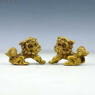 Antique china brass hand made fengshui lucky lion statue a pair
