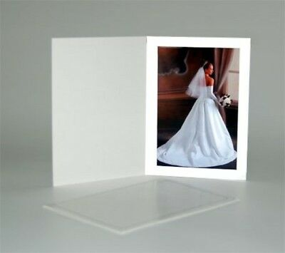 100 Pcs Cardboard Photo Folder White Coated Stock Thumb Cut 4x6in Picture Holder