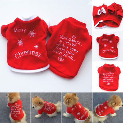 Xmas Pet Clothes Dog Sweater Shirt Puppy Cat Pullover Apparel Costume UK Stock