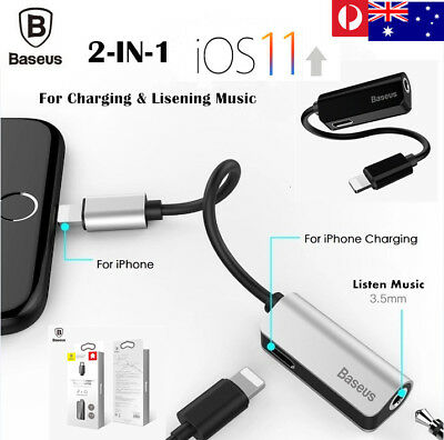 Baseus 2in1 Lightning to 3.5mm AUX Earphone Charger Adapter for iPhone X8 7 plus