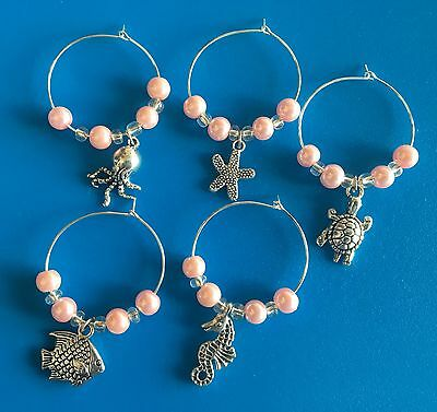 Beach Wine Glass Charms Tropical Shell/starfish/Seahorse Wedding Favour Gift x 5