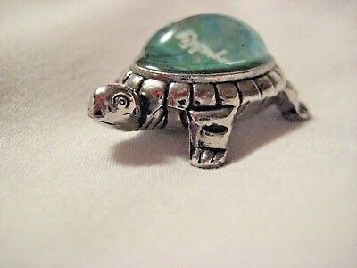 CALMING Tranquility TURTLE Trinket in Turquoise & Silver Bauble Figurine Bibelot