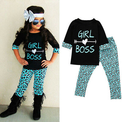 2PC Kids Baby Girls Outfits Letter T-shirt Tops   Leopard Long Pants Clothes Set