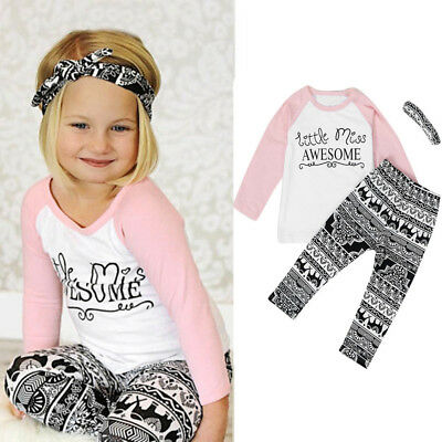 87a52a80570e Toddler Baby Kids Girls Clothes T-shirt Pants Leggings Headband 3PCS  Outfits Set