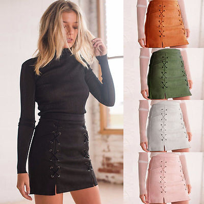 Women Suede Mini Skirts High Waist Lace Up Vegan Leather Pocket Preppy Leathers