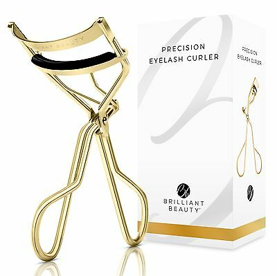 Brilliant Beauty Eyelash Curler w Satin Bag & Refill Pads - Gold